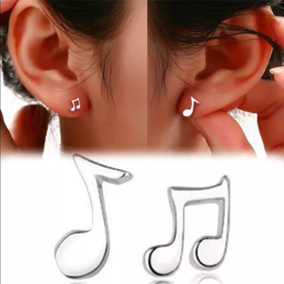 Jewelry - Last Pair! Sterling Silver Music Note Earrings